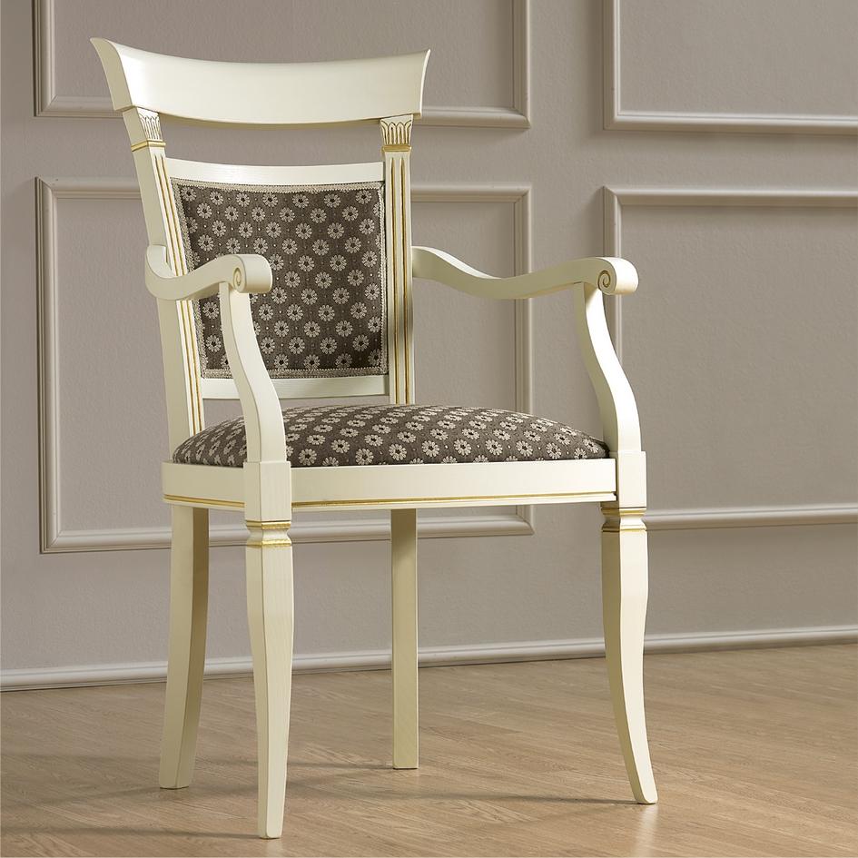 Armstoel klassieke meubels wit