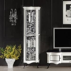 Vitrine smal klassiek wit Art.0058