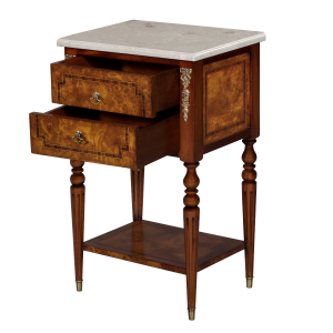 34646bs - side table burl 2 drawer marble top bs cream marble sfd3