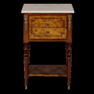34646bs - side table burl 2 drawer marble top bs cream marble sfd1