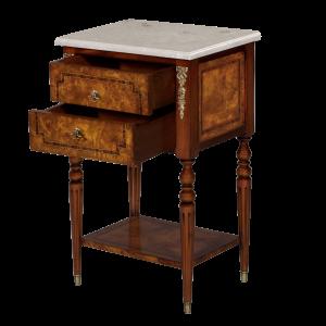 34646bs - side table burl 2 drawer marble top bs cream marble sfd3