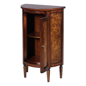 33033 - half round side cabinet burl em sfd4