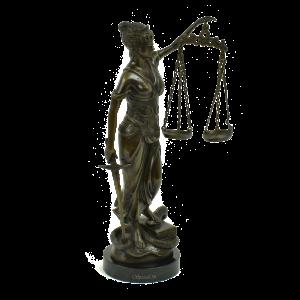 vrouwe justitia lady justice bronzen beeld