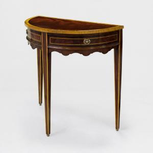 31530f - demi lune table flamed mahogany top em sfd3