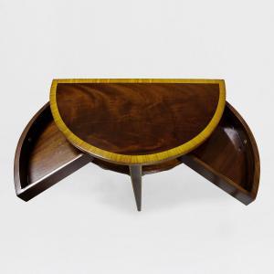 31530f - demi lune table flamed mahogany top em sfd4
